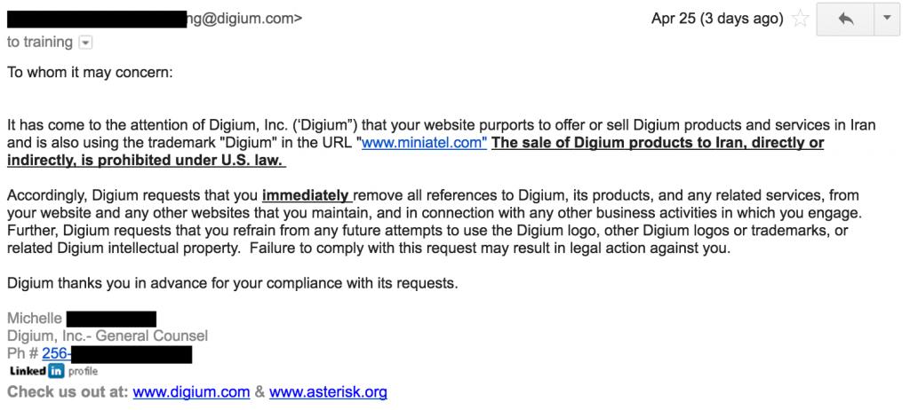 Legal Notice to Miniatel